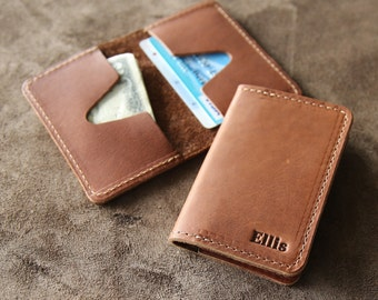 The Vincent Personalized Groomsmen Fine Leather Business Card Holder Wallet BiFold - Groomsman Gift Gifts