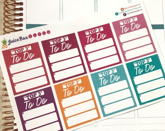Set of 8 Top 3 To Do Stickers for Various Planners, Calendars, Journals