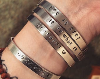 CUSTOM Free shipping Made to order hand metal stamped bangle cuff, custom stamped bracelet
