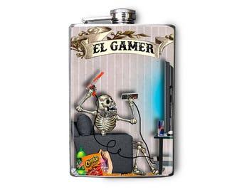 Flask Day of the Dead Skeletons 8oz El Gamer