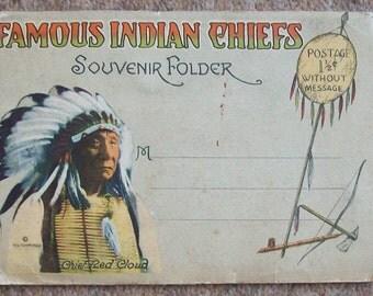 Unusual  Famous Indian Chiefs Souvenir Folder
