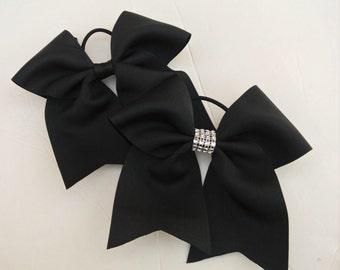 Softball Bows/Black Softball Hair Bows/Black Cheer Bows/Black Soccer Bows/Black Volleyball Bows/7 inch solid color hair bows-Black