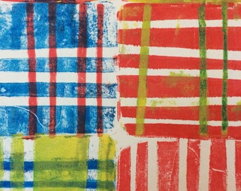 """Red and White Stripey Gelli Print Size 6 x 9"""""""