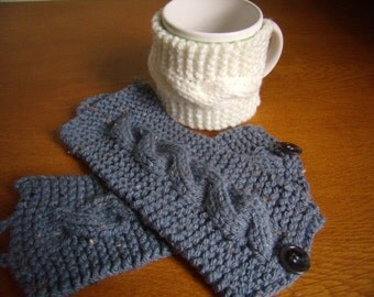 cable knit cuff Cup coffee, comfortable fit, off-white and gray cover, set of 3 pieces