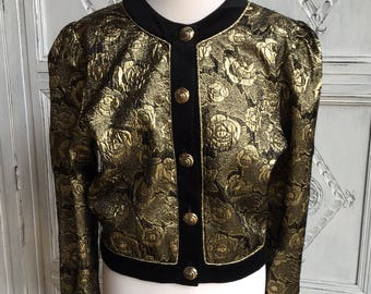 Vintage 'MA-SAI' Jacket Gold Rose Metallic/Velvet - size UK 16