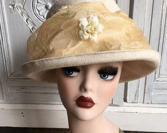 Vintage Sarah Crozier Hat - Natural Linen and Roses - 22""