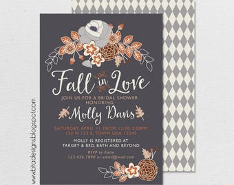 Fall Bridal Shower Invitation 1, Fall in Love, Digital & Customizeable