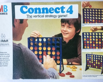 Vintage Connect 4 Game, 1975 Edition, MB Games, For 2 Players Ages 7 to Adult, 2 Missing Counters, 01289