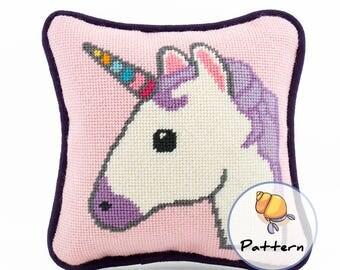 Emoji Unicorn Needlepoint or Cross-stitch Pattern, Instant Download Digital File, Modern Fun Stitching, Unicorn Pattern, Needlepoint Emojis