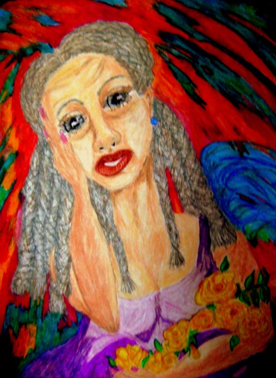 "Framed Oil Pastel portrait of ROSALINDE, a Creole woman on 24 x 18"" mix media paper, by Artist Stacey Torres"