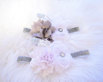 white and gray feather headband