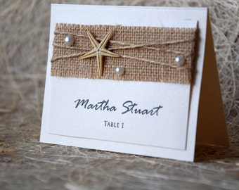 Beach Wedding Place Cards Name Place Cards Holders for Weddings Beach Weddings cream Place Cards Embossed