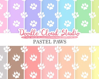 2 Sets of Pastel Paws digital paper, Paw Prints pattern, Digital Paws, pastel background, Instant Download for Personal & Commercial Use