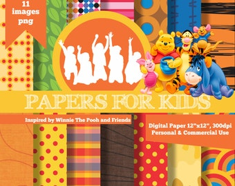 Digital Papers, Winnie Pooh and Friends, Kids, Invitation, Background, Birthday, Clipart, Papers for kids