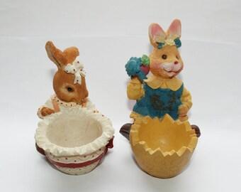 2 candlesticks, Easter bunnies, Easter, vintage, Easter, rabbits, candles, Egg cups