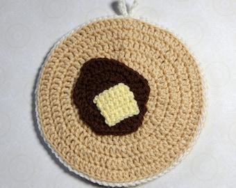 Crochet Pancake Pot Holder, Trivet, Hot Pad