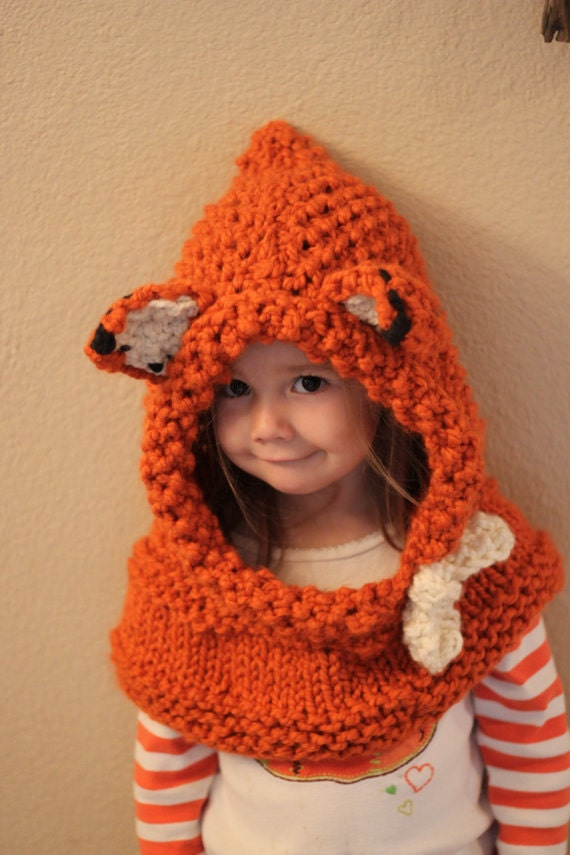 Animal Hoodie Knitting Pattern : Knitting PATTERN- Fox Hoodie- For Various Sizes, Fox Cowl ...