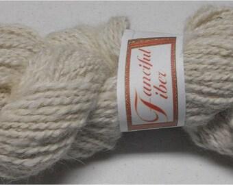 Handspun 100% Llama Yarn 2-Ply White DK 10 WPI (11)