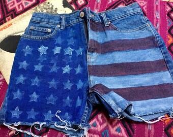 American flag denim shorts | Etsy
