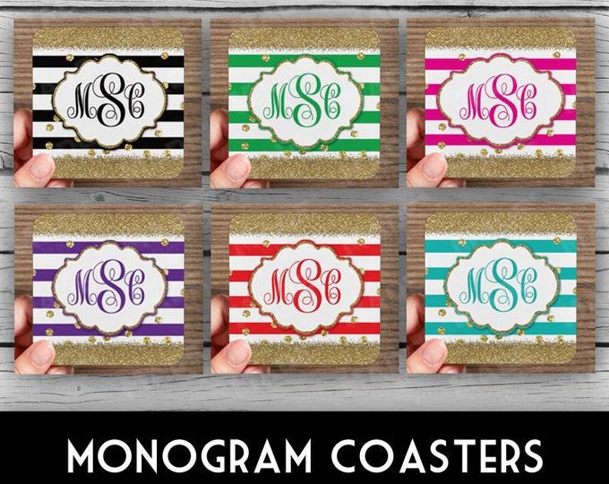 SCRIPT MONOGRAM COASTERS - Stripes/Gold Glitter, Custom Coasters, Customized Gifts, Personalized Gifts, Personalized Coasters, Photo Gifts