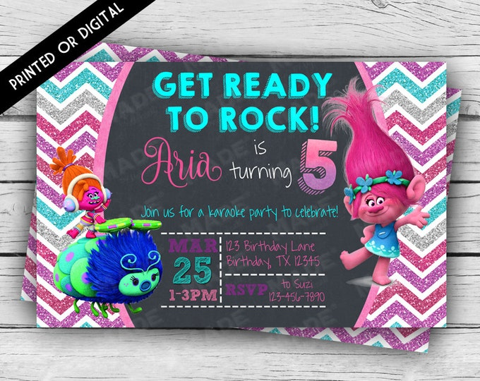 Printed Double-Sided TROLLS BIRTHDAY INVITATION, Princess Poppy, Dj Suki, Happy Birthday Invite, Custom Invites, Party, Stationery