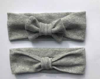 Turban style baby bow headband head wrap