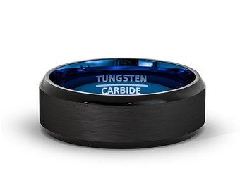 Blue Brushed Tungsten Carbide Wedding Band
