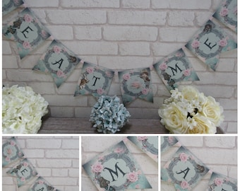 Tea Party Alice in Wonderland Eat Me Bunting Garland  Flag Banner - Wedding,Decoration,Cake,Cupcakes