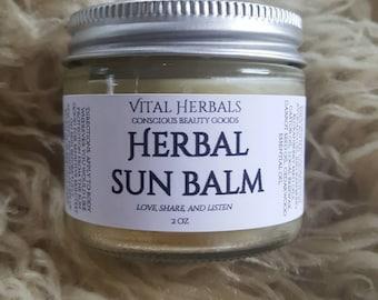 Herbal sunscreen - natural sunscreen - organic sunscreen - all natural sunscreen - homemade sunscreen - sun protection, herbal sun balm