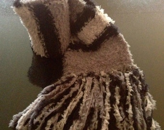 GetWoolly black, grey and light grey striped, fluffy handknitted, long scarf with tassels