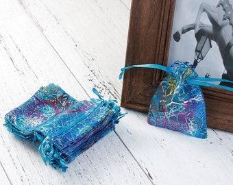 20 bags pouches 9x7cm organza blue-green coral pattern
