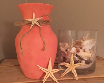 Coral wedding decor etsy coral wedding centerpiece lighted beach vase coral wedding decor beach centerpiece coastal decor coral bridal shower junglespirit Images
