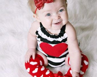 Hearts & Stripes Romper, Valentine's, Love, Stripes, Love, Hearts