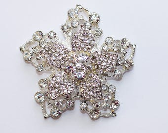 Crystal Flower Rhinestone Brooch Pin