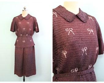 Vintage 1940's Purple Ribbon Knit Set | Size Medium