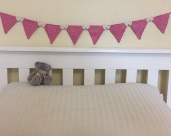 Pink crochet bunting