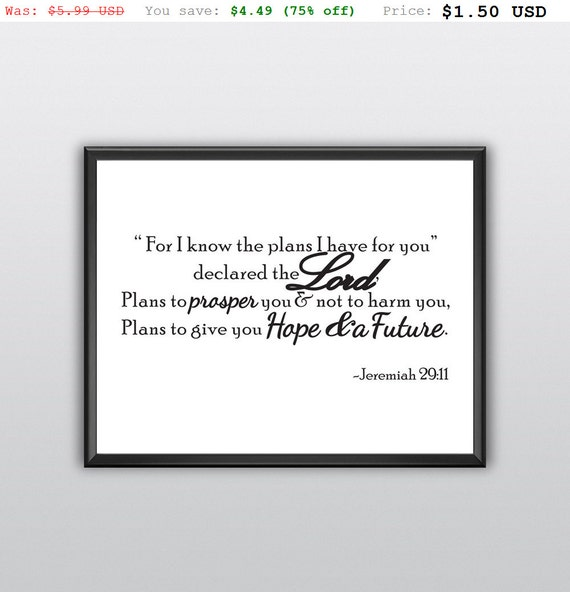 75% off For I Know the Plans Wall Art Jeremiah 29:11 Wall Quote Bible Verse Print Scripture Gift Idea Printable Nursery Wall Decor (T200)