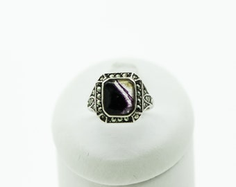 A Vintage Blue John, Silver And Marcasite Ring   SKU127