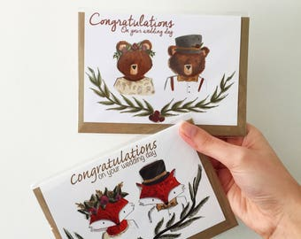 Mr and Mrs Fox or Bear congratulations wedding card
