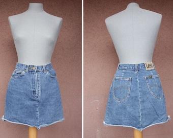 Vintage Lee Denim High Waisted Skirt - Size S / 29
