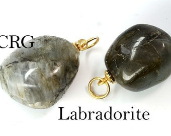 Tumbled LABRADORITE Pendant with Gold Bail (TU20DG)