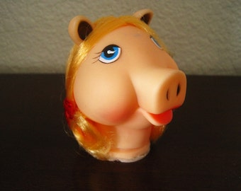 "3 1/2"" Piggy Doll Head with Blonde Hair and Red Ribbons – Westrim Crafts Style 6495 - Vintage Doll Craft Supply"