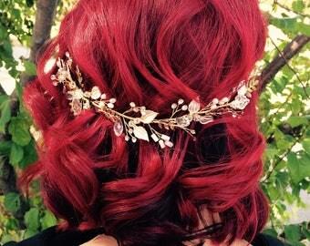 Wedding Hair Vine, White Gold Leaf Hair Vine, Gold Wedding Hair Accessory, Bridal Wreath, Rhinestones Bridal Hair Vine, Hair Crown