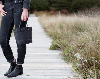 Tiny Waxed Cotton Canvas Tote Bag  - Black - Leather Handles