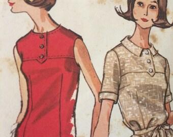 Vintage Front Yoked Shift Dress Pattern---simplicity 7177---Size 12 Bust 32