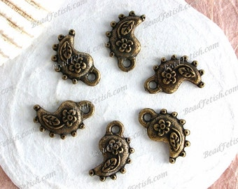 Lead Free Pewter Paisleys Boho Charms Pendants, Made in America USA Copyright © Protected Pewter Beads, KF Signature Series ~ K173 AB