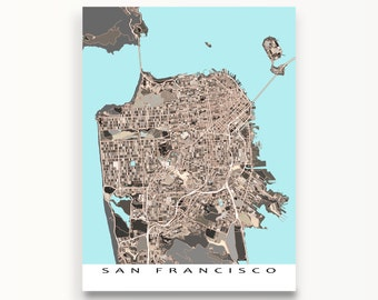 San Francisco Map Print, San Francisco, California, City Artwork