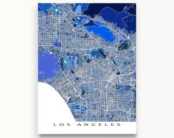 Los Angeles Map Art, Los Angeles Print, LA California, CA City Maps