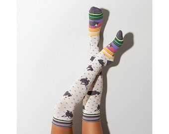 Rabbits Knee High Patterned Socks, PM-126