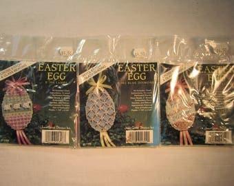 3 Easter egg cross stitch ornament kits, k-302 Blue diamonds,k-308 Lambs, k-310 Happy Easter, with floss,beads,needle,ribbon,plastic canvas